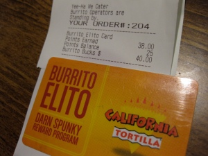 burrito elito card and receipt
