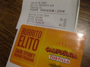 burrito elito card and receipt
