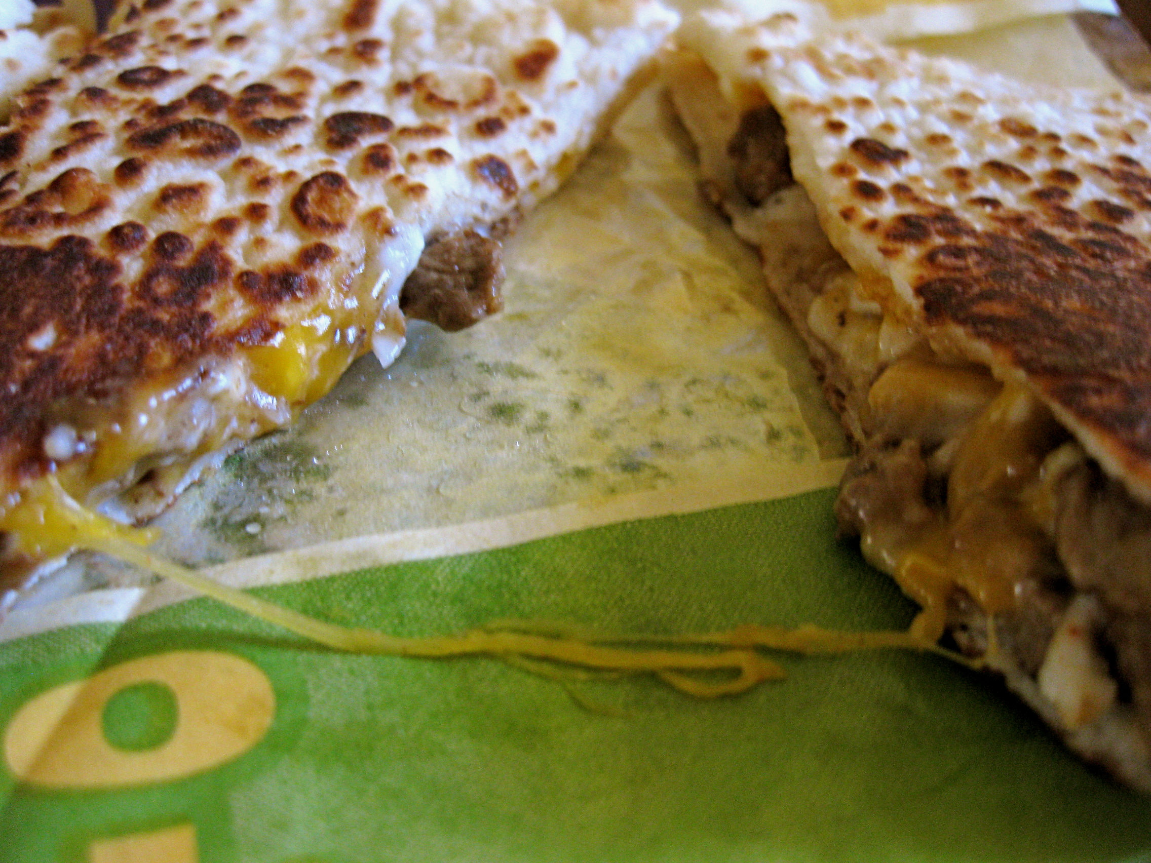 Grande Quesadilla from Taco Bell (close up)