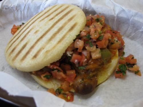 Arepa with Chorizo from Caballo Viejo
