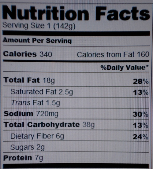 Triple Layer Nachos Nutrition