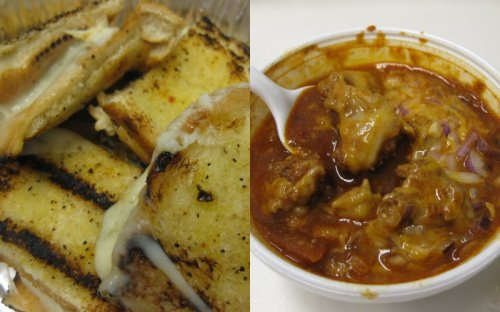 Grilled Cheese $1.75  :  Cup of Spicy Chili $2.50