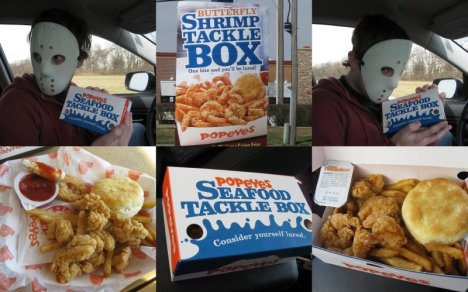 Popeyes Butterfly Shrimp Tackle Box Collage